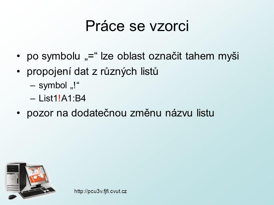 """http://pcu3v.fjfi.cvut.cz Práce se vzorci po symbolu """"="""" lze oblast označit tahem myši propojení dat z různých listů –symbol """"!"""" –List1!A1:B4 pozor na"""
