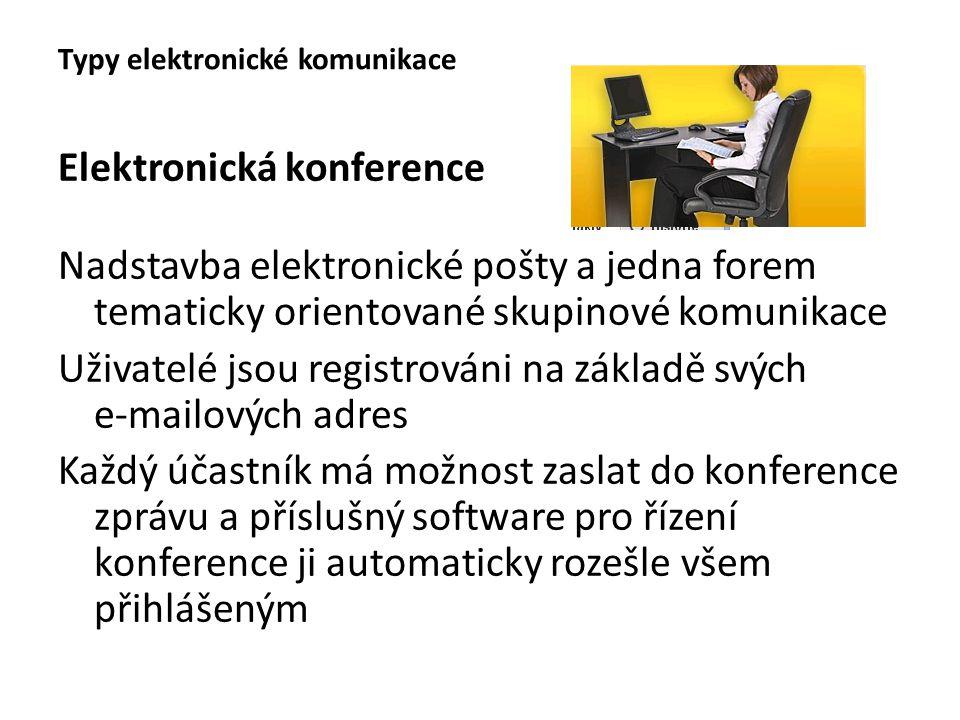 Elektronická konference Nadstavba elektronické pošty a jedna forem tematicky orientované skupinové komunikace Uživatelé jsou registrováni na základě s