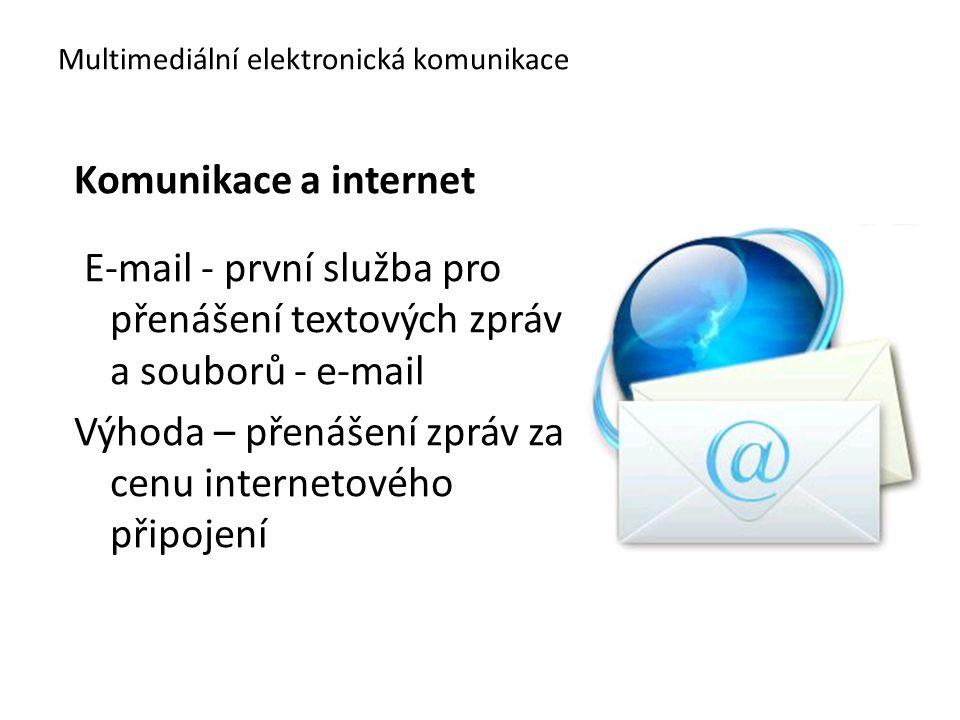 Multimediální elektronická komunikace Komunikace a internet E-mail - první služba pro přenášení textových zpráv a souborů - e-mail Výhoda – přenášení