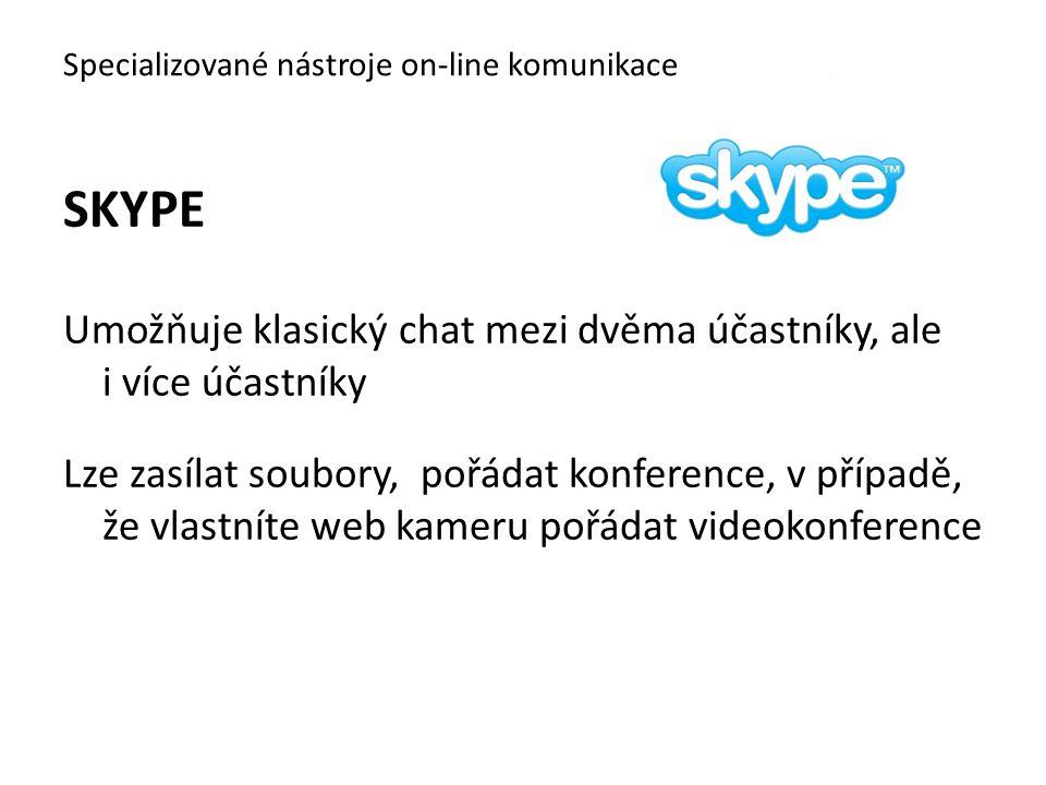 SKYPE Umožňuje klasický chat mezi dvěma účastníky, ale i více účastníky Lze zasílat soubory, pořádat konference, v případě, že vlastníte web kameru po