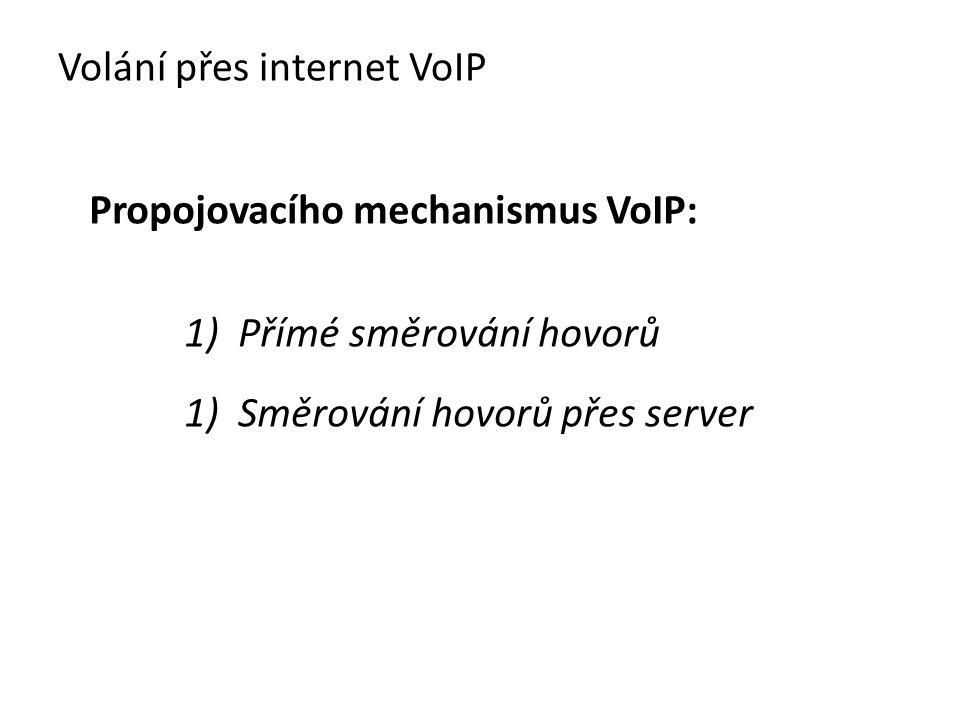 Propojovacího mechanismus VoIP: 1) Přímé směrování hovorů 1) Směrování hovorů přes server Volání přes internet VoIP