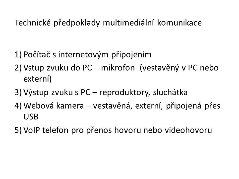 1)Počítač s internetovým připojením 2)Vstup zvuku do PC – mikrofon (vestavěný v PC nebo externí) 3)Výstup zvuku s PC – reproduktory, sluchátka 4)Webov