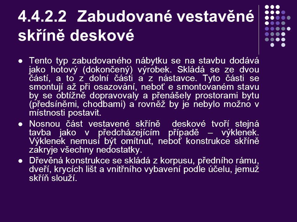 Zabudované vestavěné skříně nedeskové Obr. 67 Vestavěná skříň nedesková a,b – půdorys : 1 – nosný rám (rošt), 2 – přední rám, 3 – dveře, 4 – krycí liš