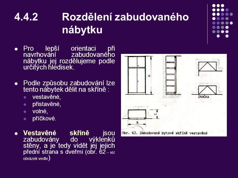4.4Dokumentace zabudovaného nábytku 4.4.1Zabudovaný nábytek – obecné údaje Nábytek a předměty potřebné pro zařízení bytu jsou v popředí zájmu téměř vš