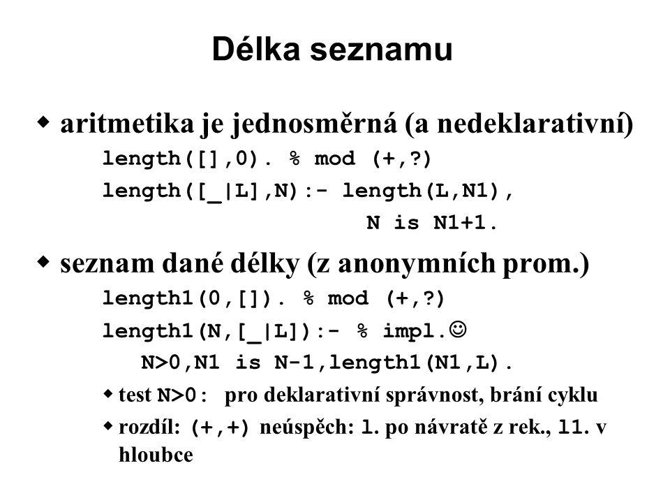 Délka seznamu  aritmetika je jednosměrná (a nedeklarativní) length([],0).
