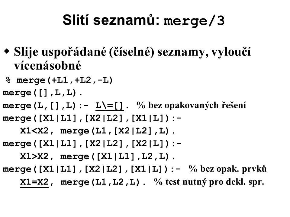 Slití seznamů: merge/3  Slije uspořádané (číselné) seznamy, vyloučí vícenásobné % merge(+L1,+L2,-L) merge([],L,L).