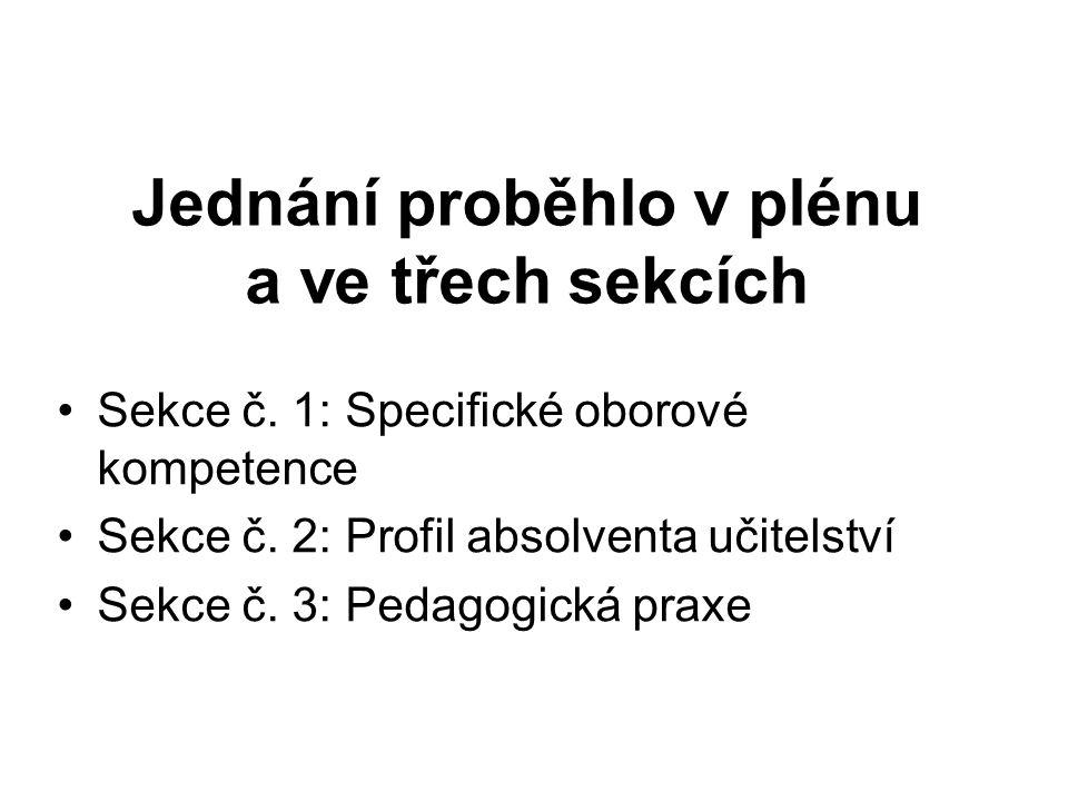 Jednání proběhlo v plénu a ve třech sekcích Sekce č.