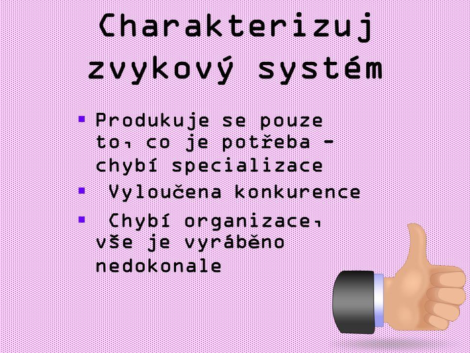 Charakterizuj zvykový systém PProdukuje se pouze to, co je potřeba - chybí specializace  Vyloučena konkurence  Chybí organizace, vše je vyráběno nedokonale