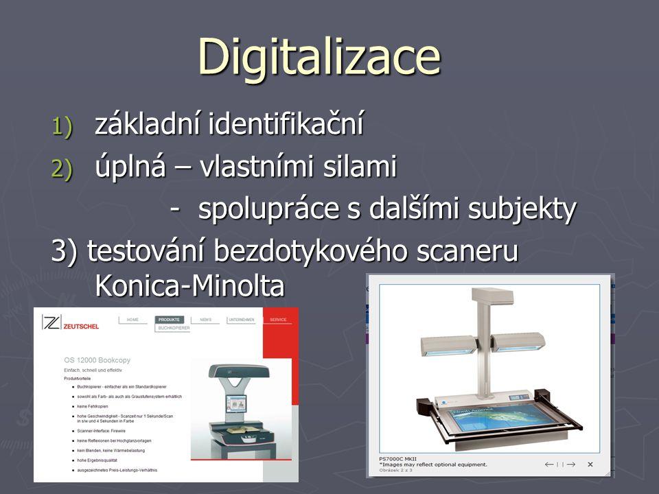 Digitalizace 1) základní identifikační 2) úplná – vlastními silami - spolupráce s dalšími subjekty - spolupráce s dalšími subjekty 3) testování bezdotykového scaneru Konica-Minolta