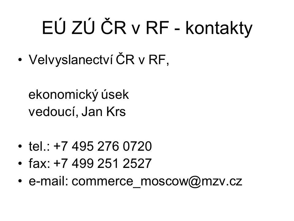 EÚ ZÚ ČR v RF - kontakty Velvyslanectví ČR v RF, ekonomický úsek vedoucí, Jan Krs tel.: +7 495 276 0720 fax: +7 499 251 2527 e-mail: commerce_moscow@mzv.cz