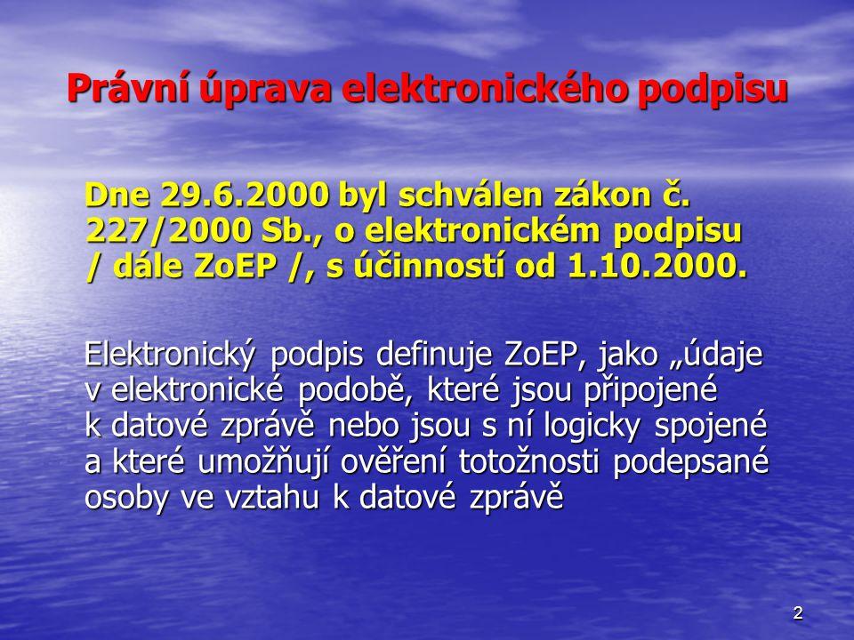2 Právní úprava elektronického podpisu Dne 29.6.2000 byl schválen zákon č.