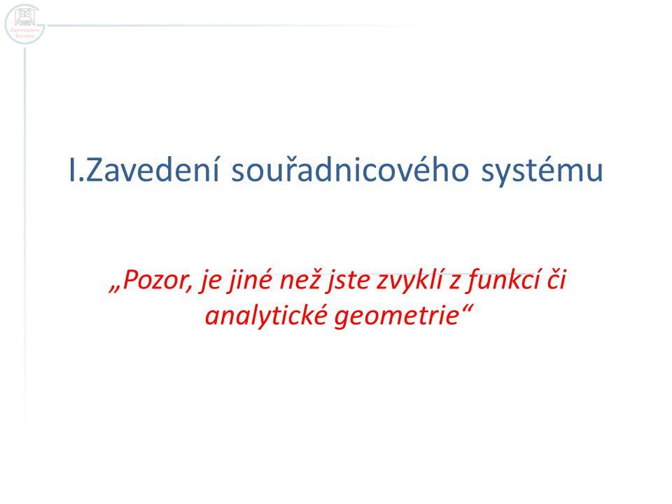 """I.Zavedení souřadnicového systému """"Pozor, je jiné než jste zvyklí z funkcí či analytické geometrie"""