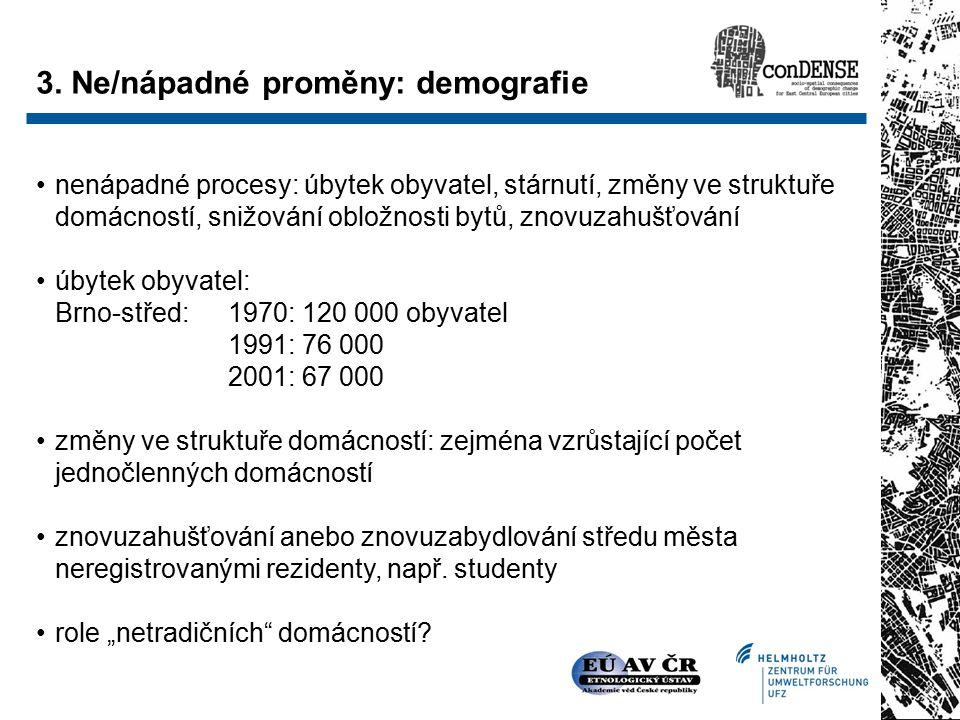nenápadné procesy: úbytek obyvatel, stárnutí, změny ve struktuře domácností, snižování obložnosti bytů, znovuzahušťování úbytek obyvatel: Brno-střed: 1970: 120 000 obyvatel 1991: 76 000 2001: 67 000 změny ve struktuře domácností: zejména vzrůstající počet jednočlenných domácností znovuzahušťování anebo znovuzabydlování středu města neregistrovanými rezidenty, např.