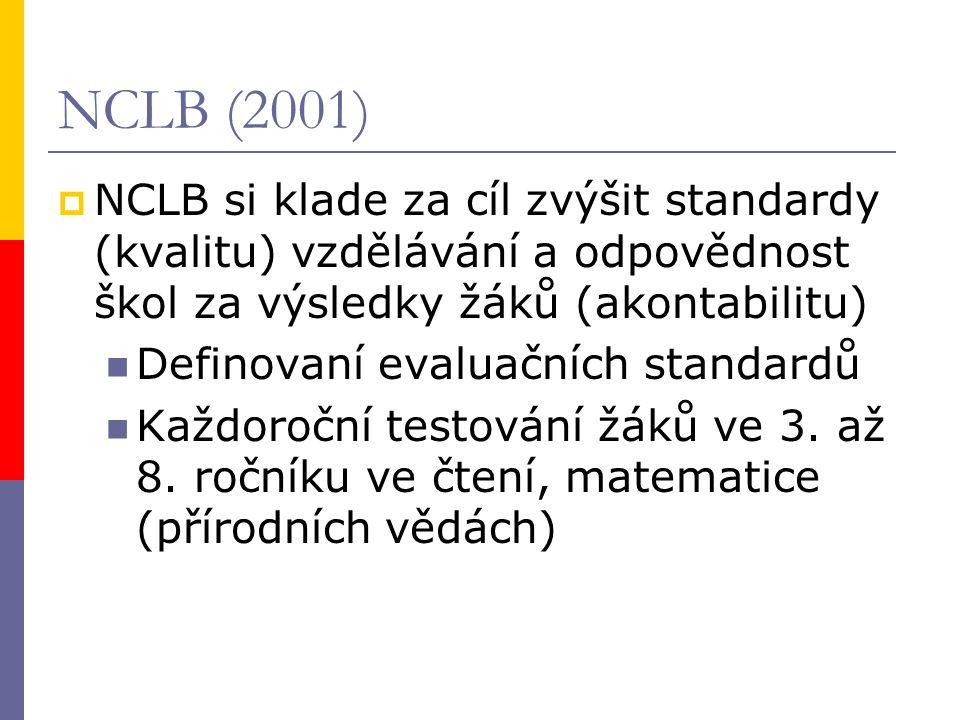 NCLB (2001)  NCLB si klade za cíl zvýšit standardy (kvalitu) vzdělávání a odpovědnost škol za výsledky žáků (akontabilitu) Definovaní evaluačních standardů Každoroční testování žáků ve 3.