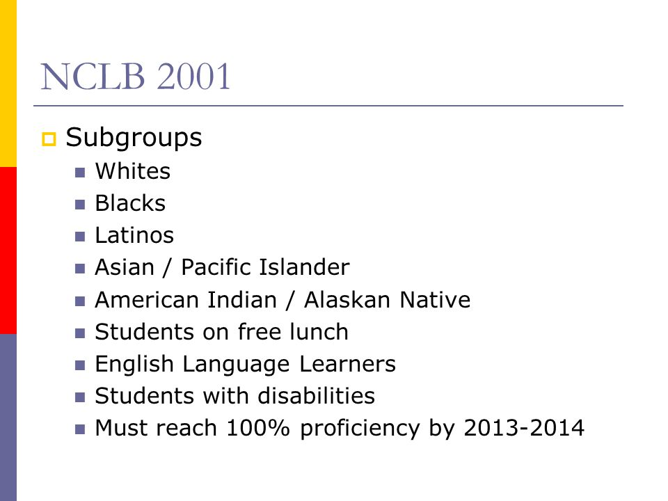 NCLB 2001  Subgroups Whites Blacks Latinos Asian / Pacific Islander American Indian / Alaskan Native Students on free lunch English Language Learners Students with disabilities Must reach 100% proficiency by 2013-2014