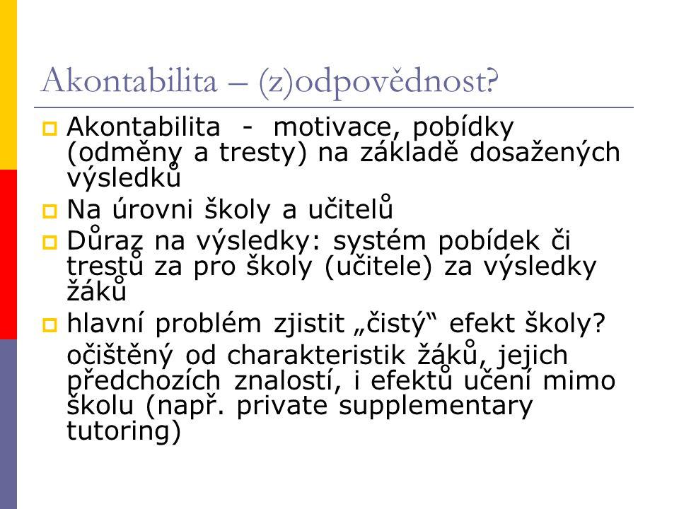 Akontabilita – (z)odpovědnost.