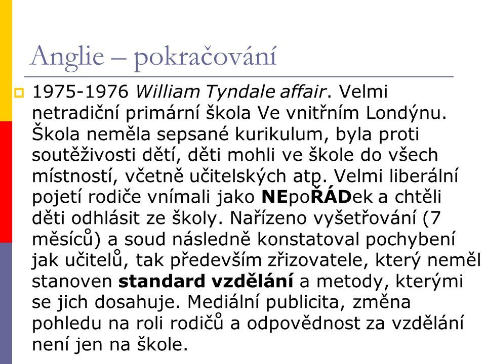  1975-1976 William Tyndale affair. Velmi netradiční primární škola Ve vnitřním Londýnu.