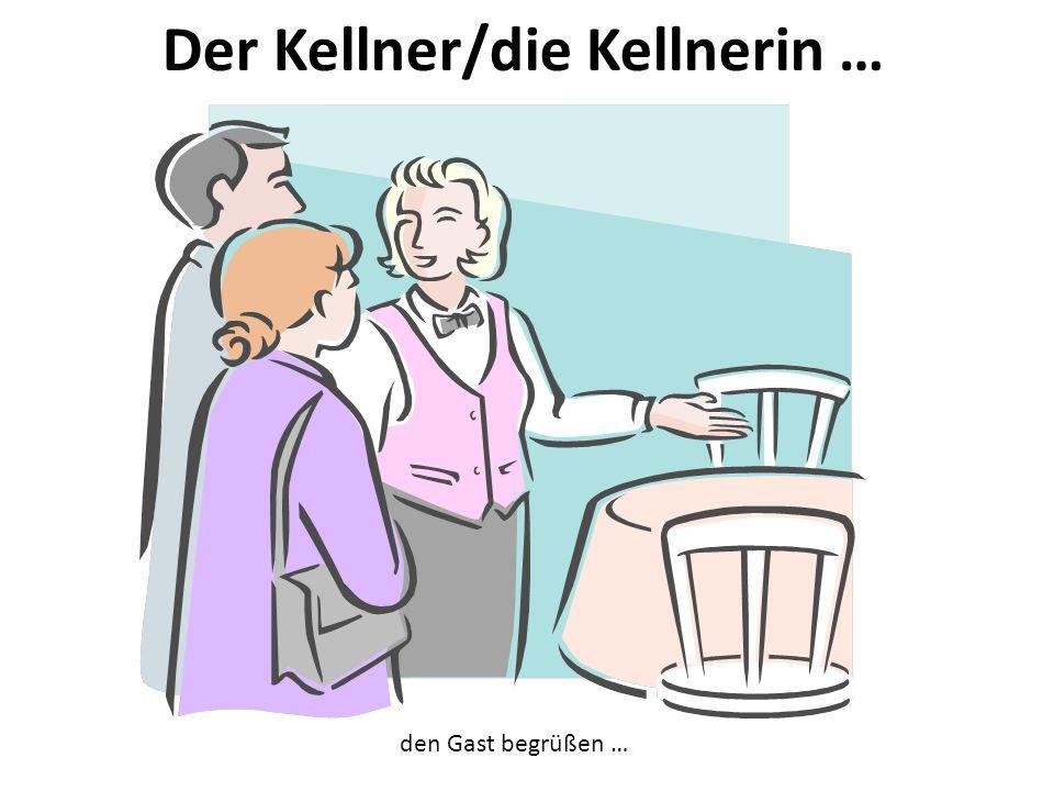 Der Kellner/die Kellnerin … den Gast begrüßen …
