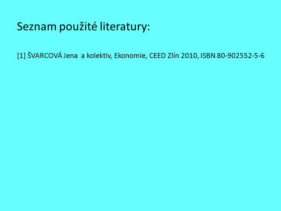 Seznam použité literatury: [1] ŠVARCOVÁ Jena a kolektiv, Ekonomie, CEED Zlín 2010, ISBN 80-902552-5-6