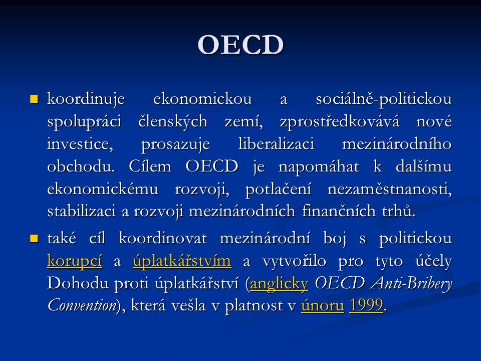 OECD koordinuje ekonomickou a sociálně-politickou spolupráci členských zemí, zprostředkovává nové investice, prosazuje liberalizaci mezinárodního obchodu.