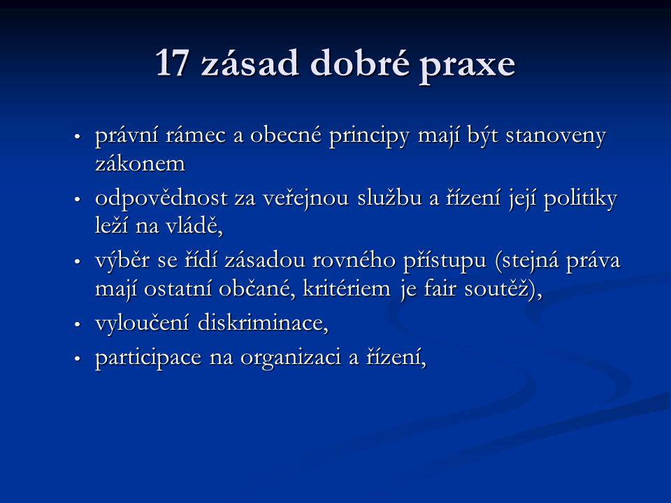 17 zásad dobré praxe právní rámec a obecné principy mají být stanoveny zákonem právní rámec a obecné principy mají být stanoveny zákonem odpovědnost z
