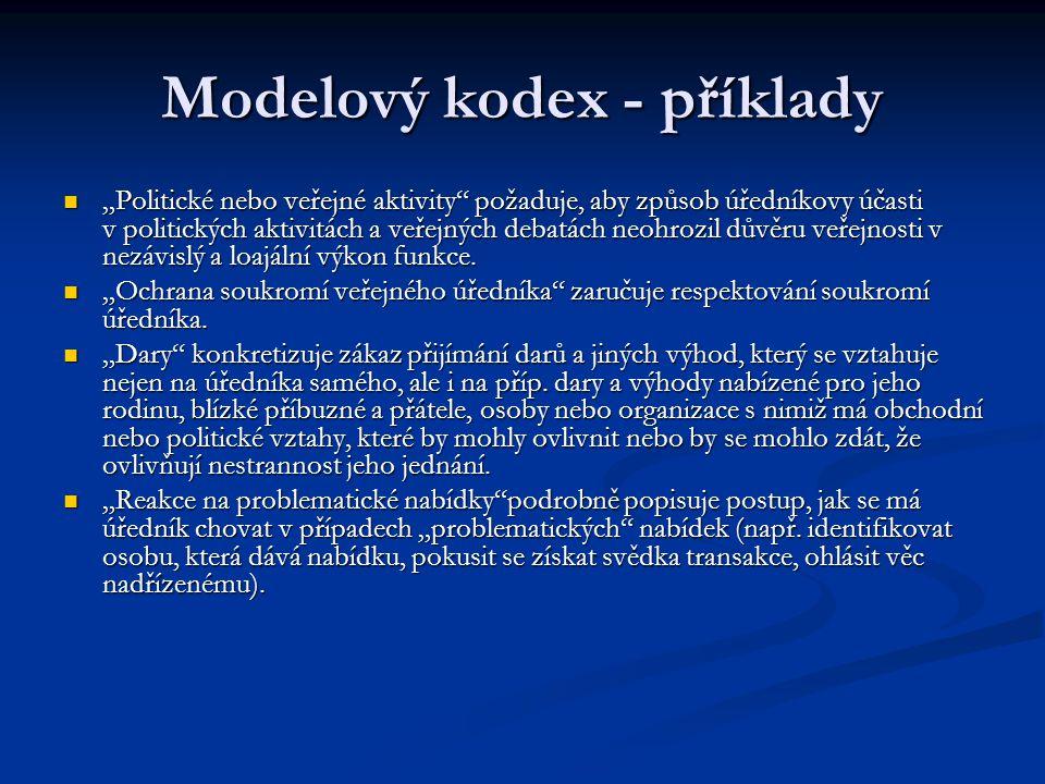 """Modelový kodex - příklady """"Politické nebo veřejné aktivity"""" požaduje, aby způsob úředníkovy účasti v politických aktivitách a veřejných debatách neohr"""