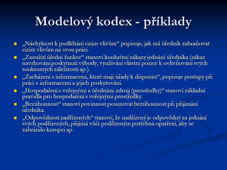 """Modelový kodex - příklady """"Náchylnost k podléhání cizím vlivům"""" popisuje, jak má úředník zabraňovat cizím vlivům na svou práci. """"Náchylnost k podléhán"""