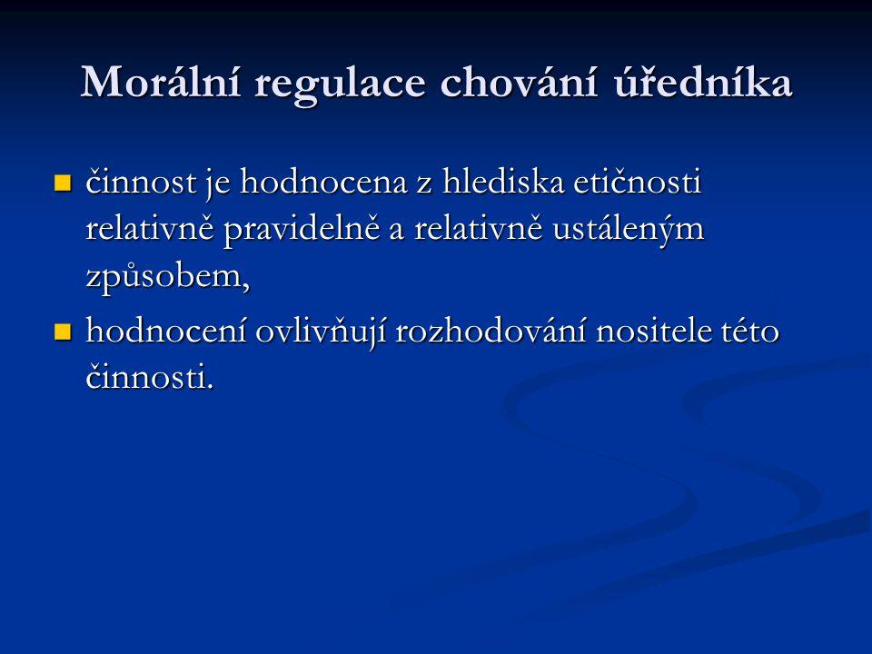 Morální regulace chování úředníka činnost je hodnocena z hlediska etičnosti relativně pravidelně a relativně ustáleným způsobem, činnost je hodnocena z hlediska etičnosti relativně pravidelně a relativně ustáleným způsobem, hodnocení ovlivňují rozhodování nositele této činnosti.