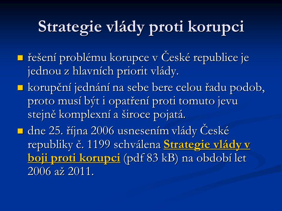 Strategie vlády proti korupci řešení problému korupce v České republice je jednou z hlavních priorit vlády. řešení problému korupce v České republice