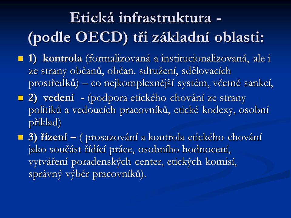 Etická infrastruktura - (podle OECD) tři základní oblasti: 1) kontrola (formalizovaná a institucionalizovaná, ale i ze strany občanů, občan. sdružení,