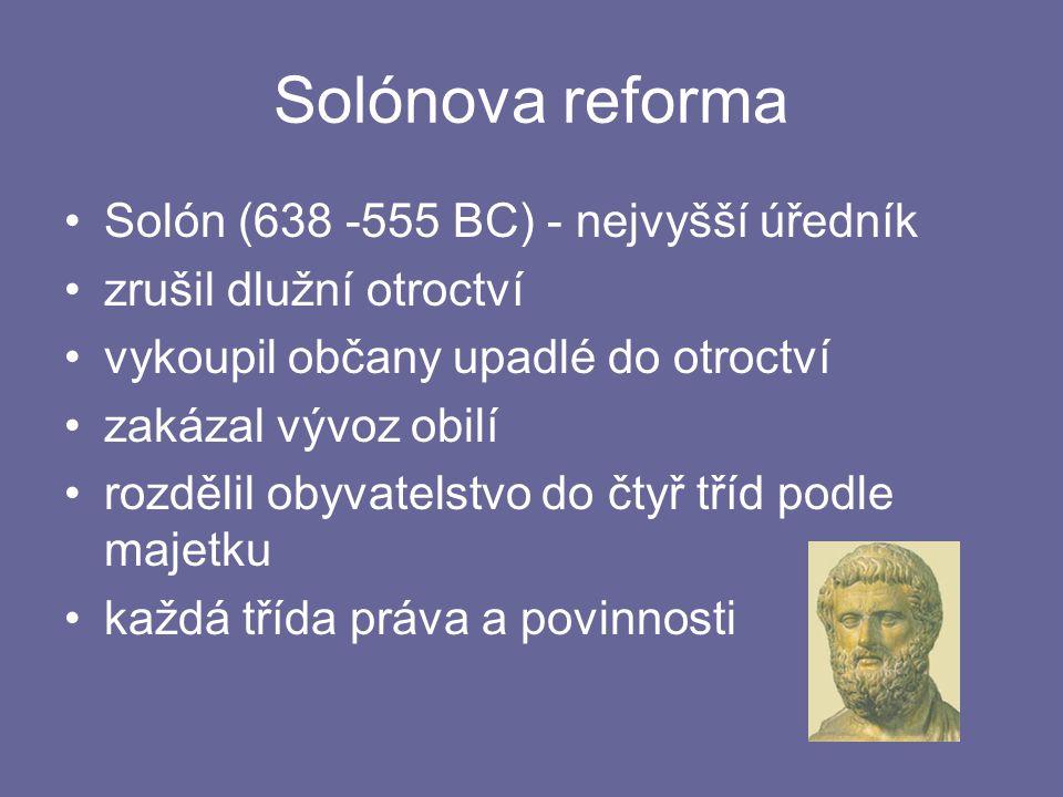 Solónova reforma Solón (638 -555 BC) - nejvyšší úředník zrušil dlužní otroctví vykoupil občany upadlé do otroctví zakázal vývoz obilí rozdělil obyvate