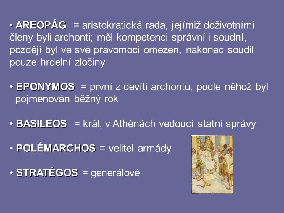 AREOPÁG AREOPÁG = aristokratická rada, jejímiž doživotními členy byli archonti; měl kompetenci správní i soudní, později byl ve své pravomoci omezen,
