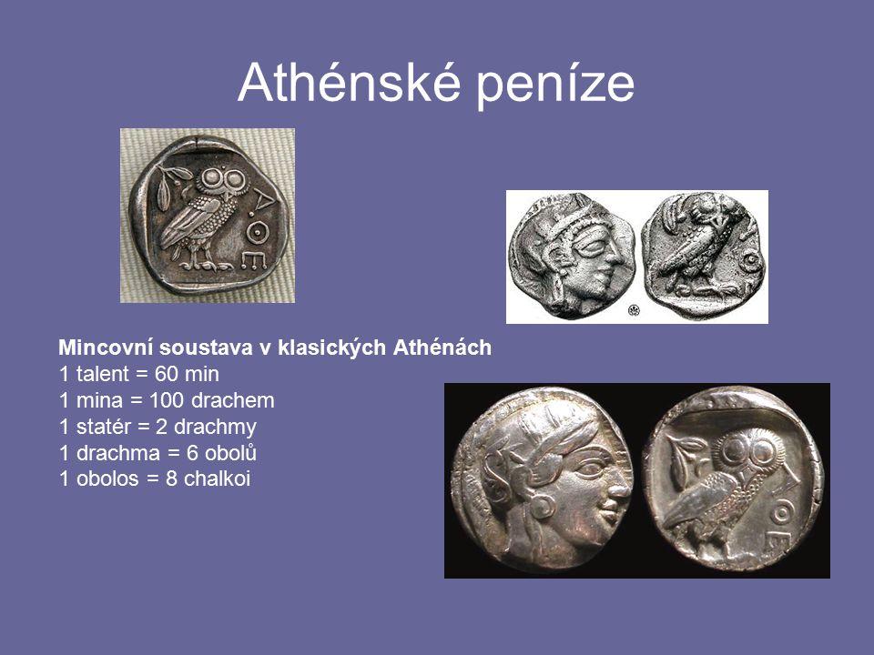 Athénské peníze Mincovní soustava v klasických Athénách 1 talent = 60 min 1 mina = 100 drachem 1 statér = 2 drachmy 1 drachma = 6 obolů 1 obolos = 8 c