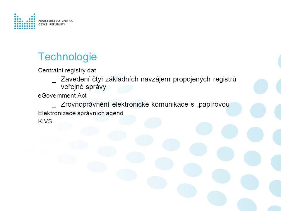 """Technologie Centrální registry dat _Zavedení čtyř základních navzájem propojených registrů veřejné správy eGovernment Act _Zrovnoprávnění elektronické komunikace s """"papírovou Elektronizace správních agend KIVS"""