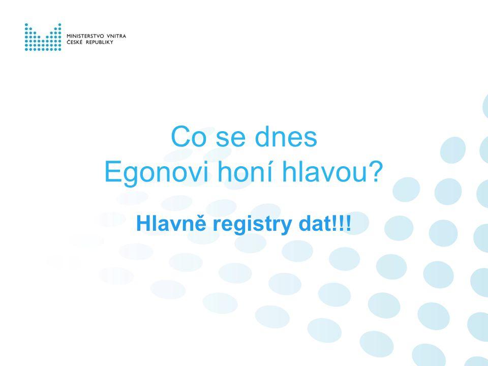 Co se dnes Egonovi honí hlavou Hlavně registry dat!!!