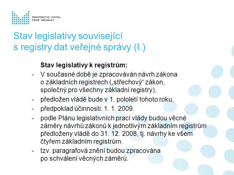 """Stav legislativy související s registry dat veřejné správy (I.) Stav legislativy k registrům: -V současné době je zpracováván návrh zákona o základních registrech (""""střechový zákon, společný pro všechny základní registry), -předložen vládě bude v 1."""