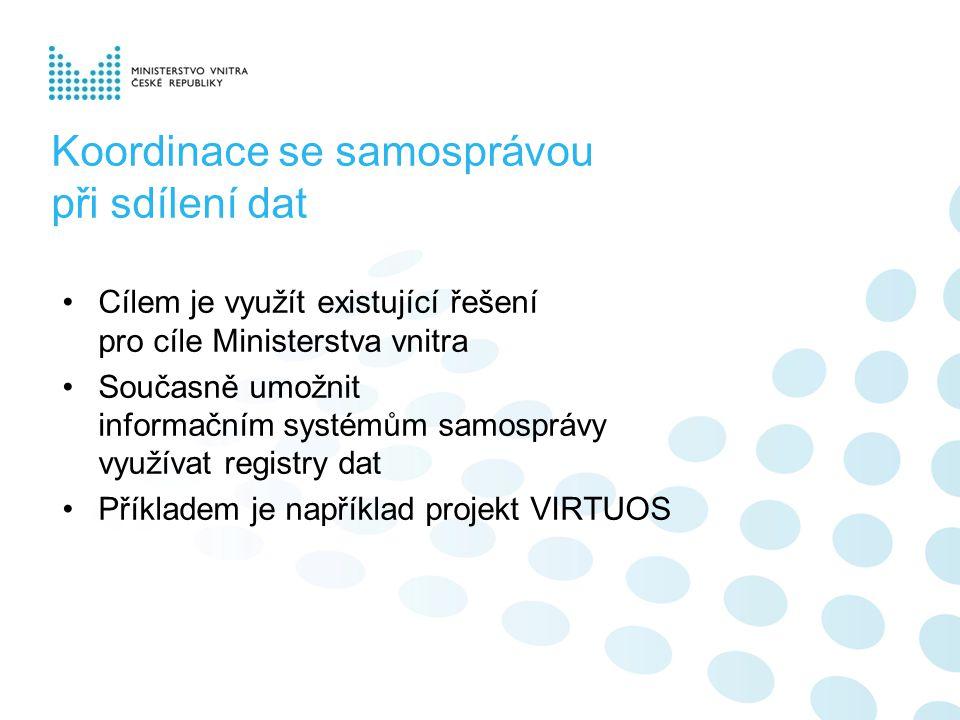 Koordinace se samosprávou při sdílení dat Cílem je využít existující řešení pro cíle Ministerstva vnitra Současně umožnit informačním systémům samosprávy využívat registry dat Příkladem je například projekt VIRTUOS