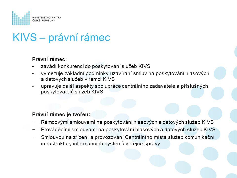 KIVS – právní rámec Právní rámec: -zavádí konkurenci do poskytování služeb KIVS -vymezuje základní podmínky uzavírání smluv na poskytování hlasových a datových služeb v rámci KIVS -upravuje další aspekty spolupráce centrálního zadavatele a příslušných poskytovatelů služeb KIVS Právní rámec je tvořen: −Rámcovými smlouvami na poskytování hlasových a datových služeb KIVS −Prováděcími smlouvami na poskytování hlasových a datových služeb KIVS −Smlouvou na zřízení a provozování Centrálního místa služeb komunikační infrastruktury informačních systémů veřejné správy