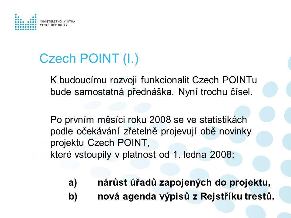 Czech POINT (I.) K budoucímu rozvoji funkcionalit Czech POINTu bude samostatná přednáška.