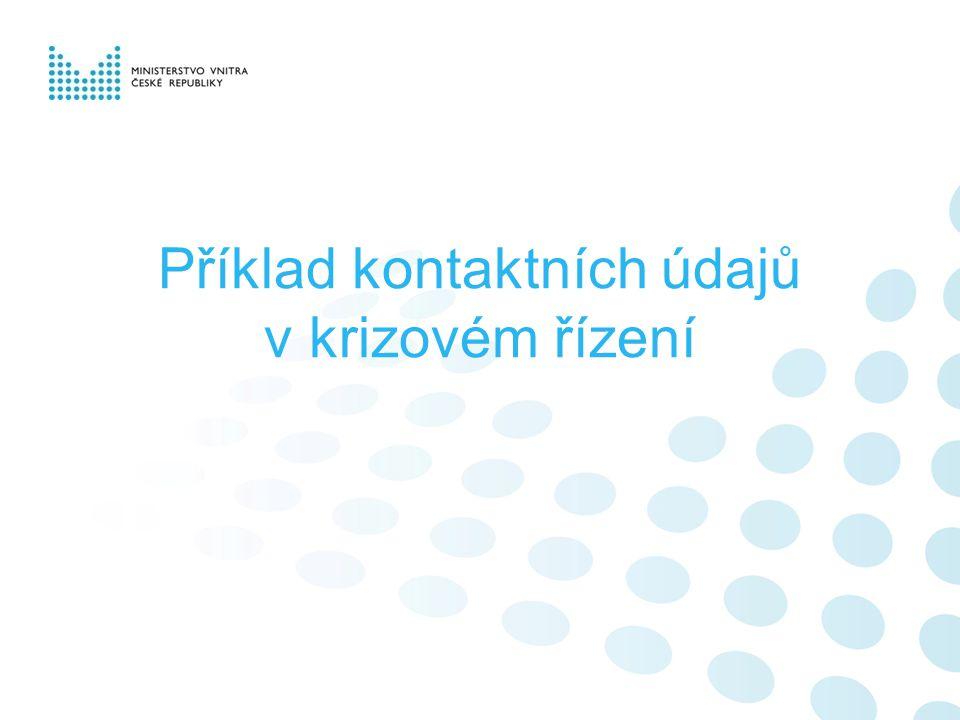 Příklad kontaktních údajů v krizovém řízení
