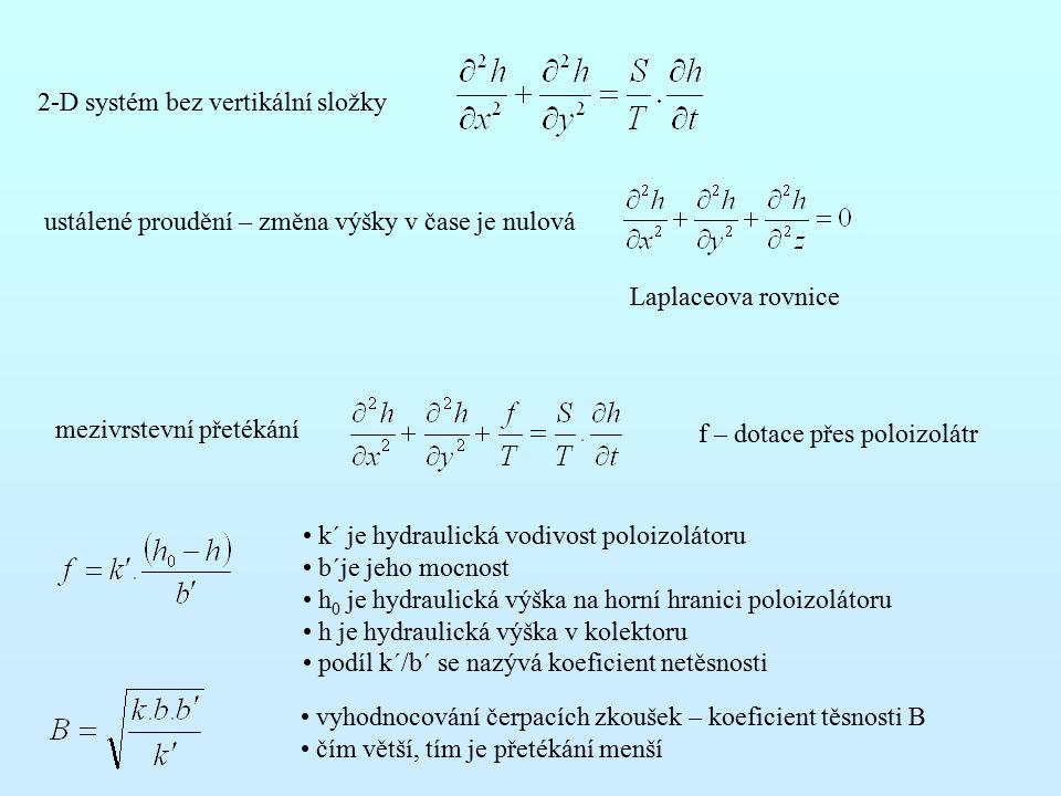 2-D systém bez vertikální složky ustálené proudění – změna výšky v čase je nulová Laplaceova rovnice mezivrstevní přetékání f – dotace přes poloizolátr k´ je hydraulická vodivost poloizolátoru b´je jeho mocnost h 0 je hydraulická výška na horní hranici poloizolátoru h je hydraulická výška v kolektoru podíl k´/b´ se nazývá koeficient netěsnosti vyhodnocování čerpacích zkoušek – koeficient těsnosti B čím větší, tím je přetékání menší