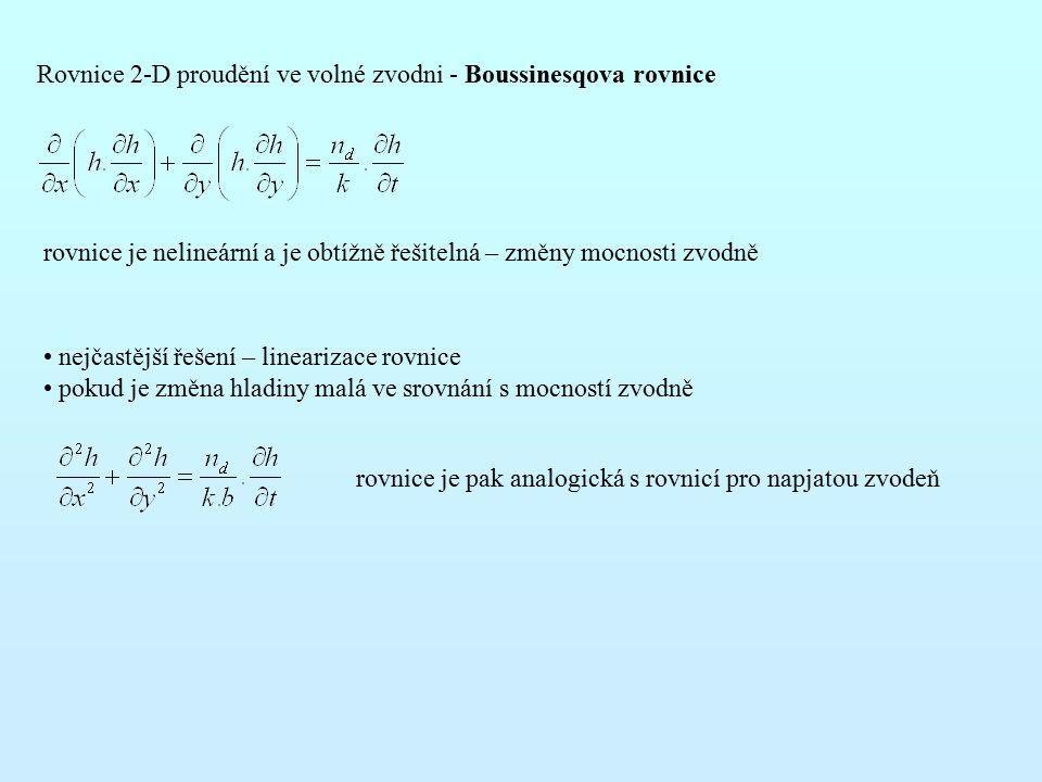 Rovnice 2-D proudění ve volné zvodni - Boussinesqova rovnice rovnice je nelineární a je obtížně řešitelná – změny mocnosti zvodně nejčastější řešení – linearizace rovnice pokud je změna hladiny malá ve srovnání s mocností zvodně rovnice je pak analogická s rovnicí pro napjatou zvodeň