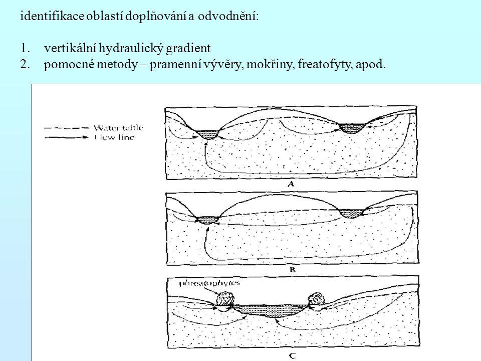 identifikace oblastí doplňování a odvodnění: 1.vertikální hydraulický gradient 2.pomocné metody – pramenní vývěry, mokřiny, freatofyty, apod.