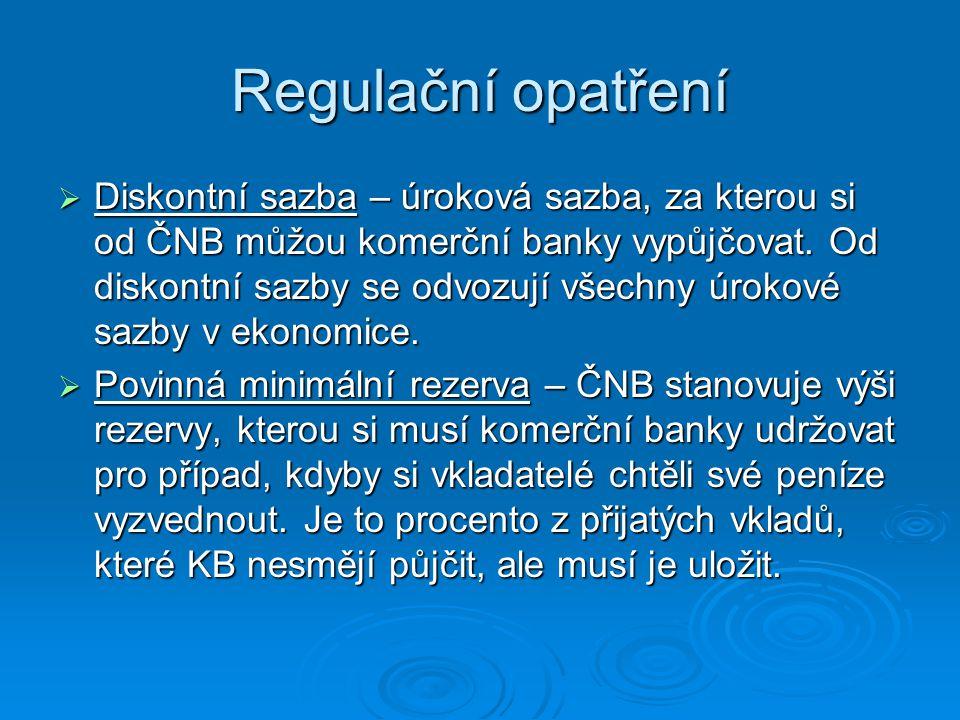 Regulační opatření  Diskontní sazba – úroková sazba, za kterou si od ČNB můžou komerční banky vypůjčovat. Od diskontní sazby se odvozují všechny úrok