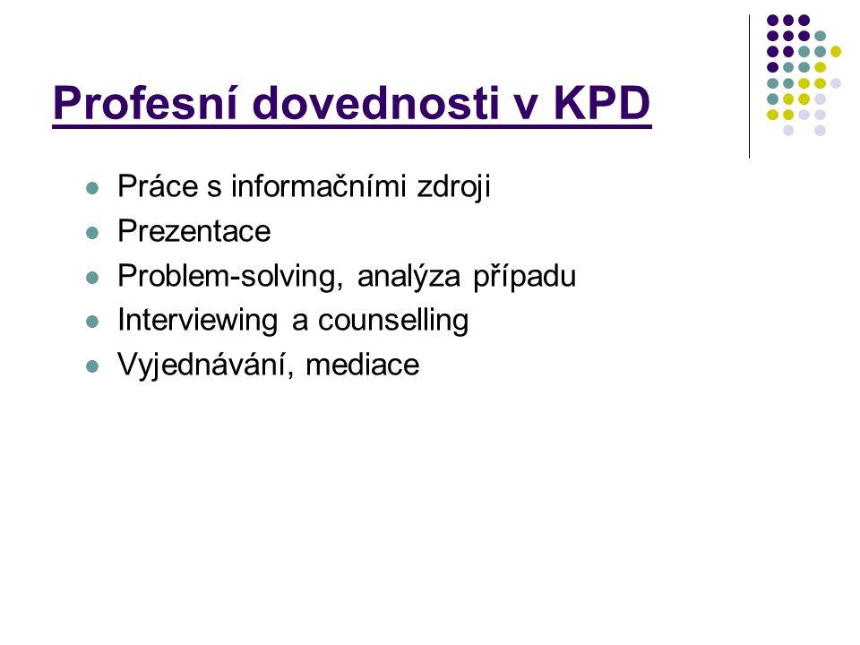 Profesní dovednosti v KPD Práce s informačními zdroji Prezentace Problem-solving, analýza případu Interviewing a counselling Vyjednávání, mediace
