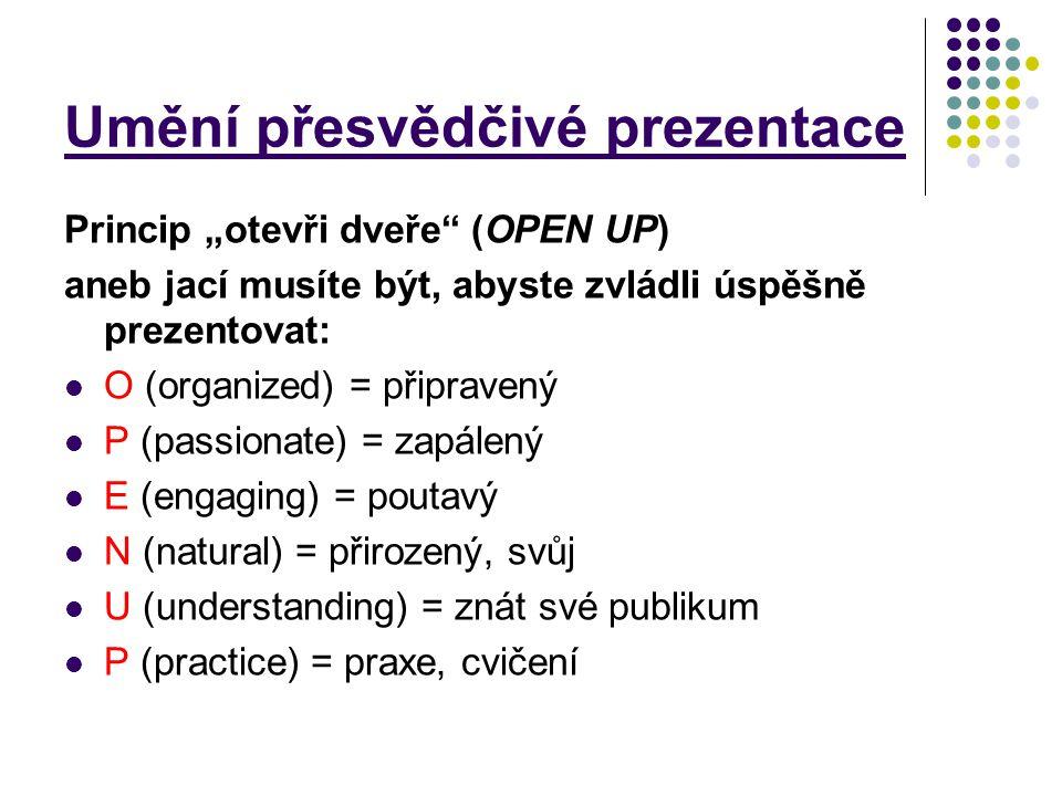 """Umění přesvědčivé prezentace Princip """"otevři dveře"""" (OPEN UP) aneb jací musíte být, abyste zvládli úspěšně prezentovat: O (organized) = připravený P ("""
