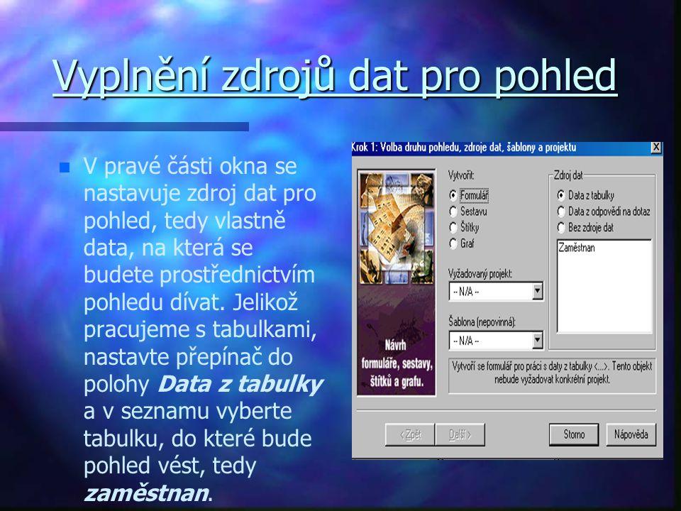 Vyplnění zdrojů dat pro pohled n n V pravé části okna se nastavuje zdroj dat pro pohled, tedy vlastně data, na která se budete prostřednictvím pohledu