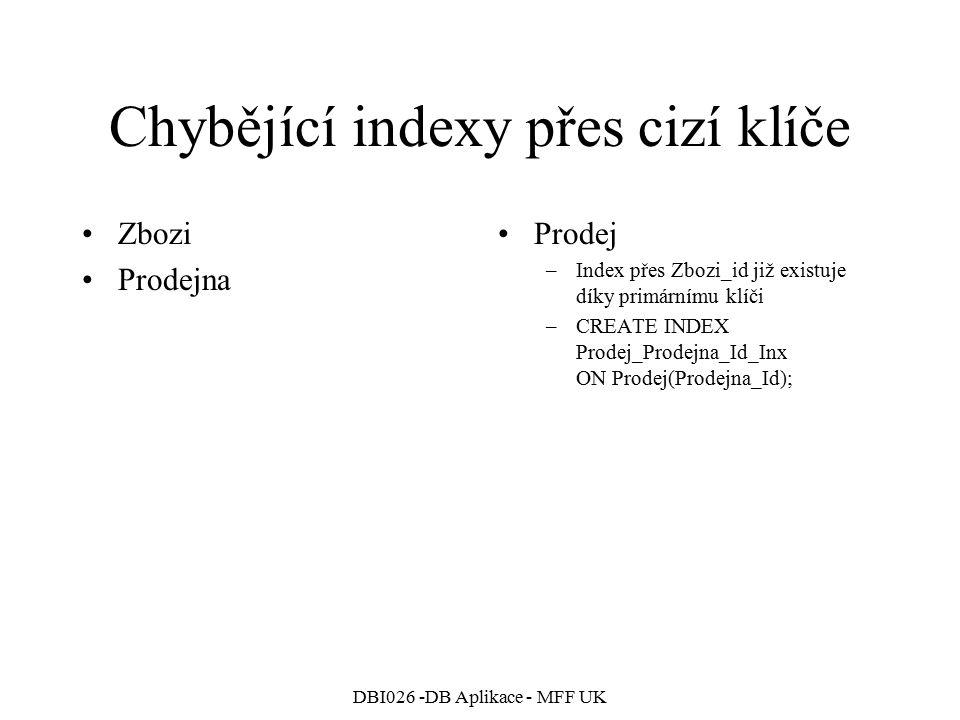 DBI026 -DB Aplikace - MFF UK Chybějící indexy přes cizí klíče Zbozi Prodejna Prodej –Index přes Zbozi_id již existuje díky primárnímu klíči –CREATE INDEX Prodej_Prodejna_Id_Inx ON Prodej(Prodejna_Id);