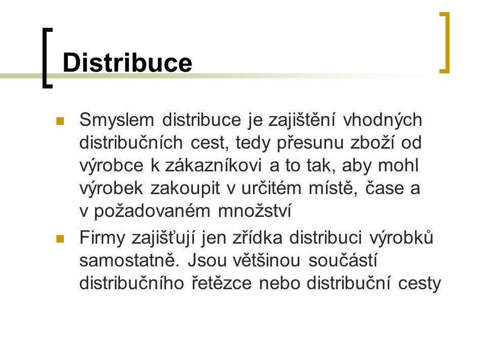 Distribuce Smyslem distribuce je zajištění vhodných distribučních cest, tedy přesunu zboží od výrobce k zákazníkovi a to tak, aby mohl výrobek zakoupi