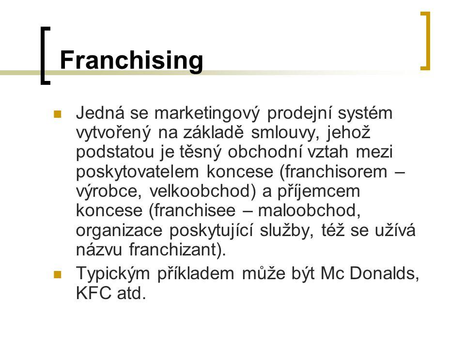 Franchising Jedná se marketingový prodejní systém vytvořený na základě smlouvy, jehož podstatou je těsný obchodní vztah mezi poskytovatelem koncese (f
